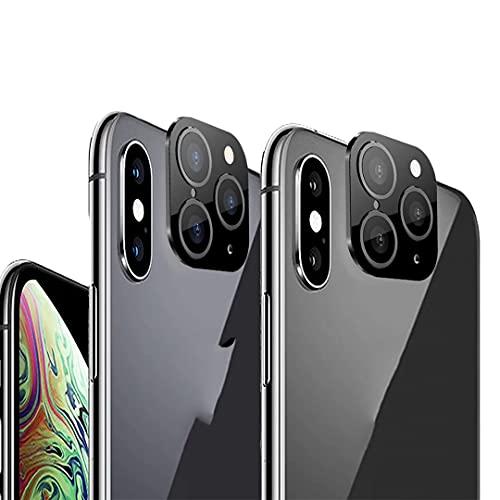 Modification lentille caméra en Secondes Changer la Couverture pour iPhone X XS Max Autocollant Faux Appareil Photo pour iPhone 11 Pro Max Metal Protector Changer en iPhone 11pro/Max (Noir 2pack)