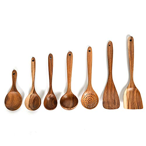 Cobeky 7PCS Cooking Utensils Set Teak Wooden Non Stick Cookware Tools Spatula Shovel Soup Spoon Kitchen Cooking Tool Sets