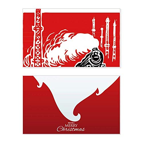 China Train Tower Steam Red Holiday Holiday Merry Christmas Congrats Card Christmas Letter Message