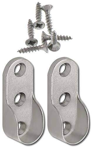 SECOTEC Schrankrohr Halter | oval 30x15 mm | seitliche Befestigung für Nischenstange | 2 Stück