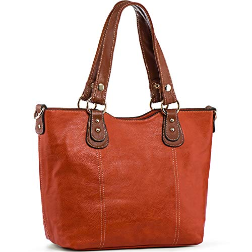 UTAKE Handbags for Women Top Handle Shoulder Bags PU Leather Tote Purse Meduim Size Orange