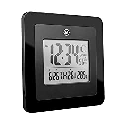 Marathon Digital Wall Clock with Moon Phase, Alarm, Temperature, Calendar Date   Wall or Stand   Place in Any Room to Enhance The Decor - Batteries Included