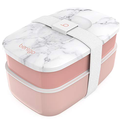 Bentgo Classic - All-in-One Stackable Bento Lunch Box Container - Modern Bento-Style Design Includes 2 Stackable Containers, Built-in Plastic Utensil Set, and Nylon Sealing Strap (Blush Marble)