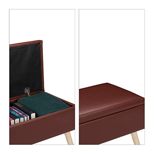 Relaxdays Sitzbank mit Stauraum, 40 L, gepolstert, Holzbeine, Truhenbank Kunstleder, HxBxT: 40 x 80 x 39,5 cm, braun, Größe - 3