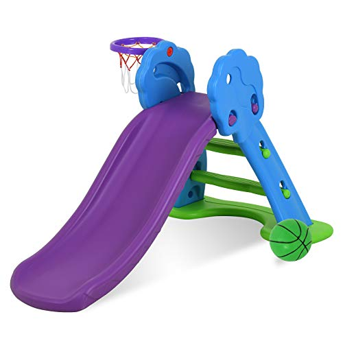 Product Image of the Uenjoy Kids' Slide With Basketball Hoop