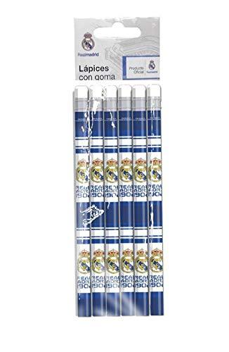 Real Madrid Set mit 6 Bleistiften mit Radiergummi