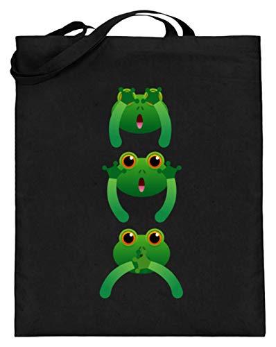 Chorchester Ideal für Frosch und Amphibien Fans - Jutebeutel (mit langen Henkeln) -38cm-42cm-Schwarz