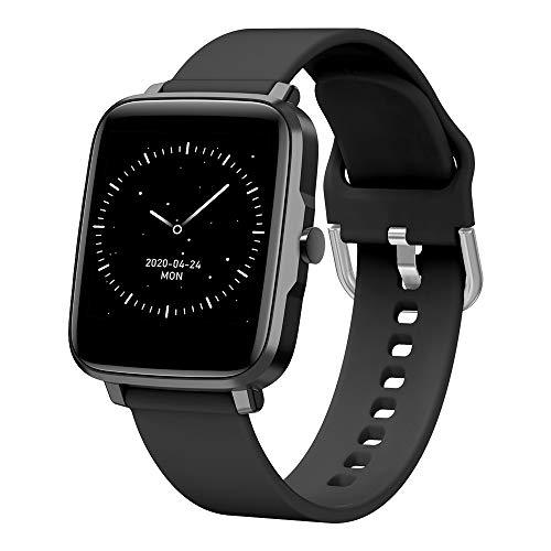 Dlovey Reloj Inteligente Bluetooth a Prueba de Agua, Pantalla táctil Completa para Android iOS Rastreador de Actividad con Reloj Deportivo de frecuencia cardíaca para niños, Hombres, Mujeres,Negro