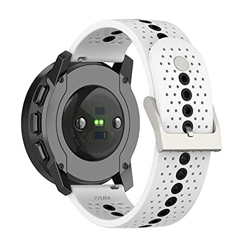 BoLuo 22mm Correa para Suunto 9 Speak,Bandas Correa Repuesto,Silicona Reloj Recambio Brazalete Correa Repuesto para Huawei Watch GT2 Pro/Watch GT 42mm/46mm/Huawei Watch 3/Watch 3 Pro Watch (blanco)