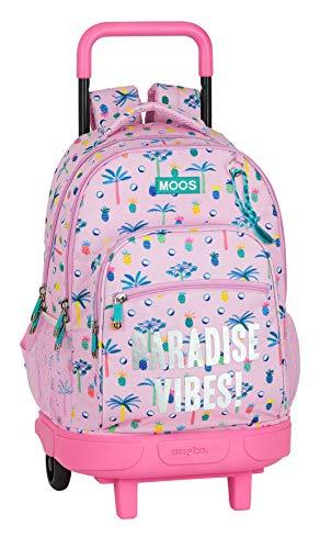 Safta Mochila Escolar con Carro Incluido y Espalada Acolchada de Moos, Multicolor (Paradise)