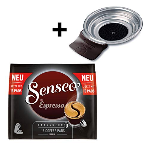 Senseo Typ Espresso Kaffeepads, Röstkaffee, Kaffee, 16 Pads, mit Padhalter HD7003