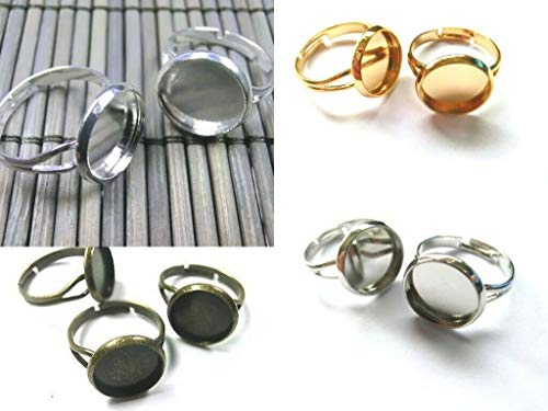 beadsvision 10 Ringrohlinge für 12mm Cabochons Ringe Rohlinge verstellbar Farbe Silber #S522