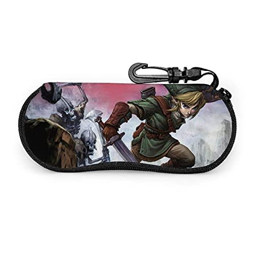 DraSports Fundas de Gafas Legend of Zelda Funda impermeable con mosquetón para gafas de seguridad con cremallera, gafas de sol portátiles, funda suave, clip para cinturón Multifunción