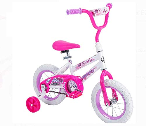 Huffy 52896 12' Steel Bicycle Frame Girls' Sea Star Bike, White/Pink Color