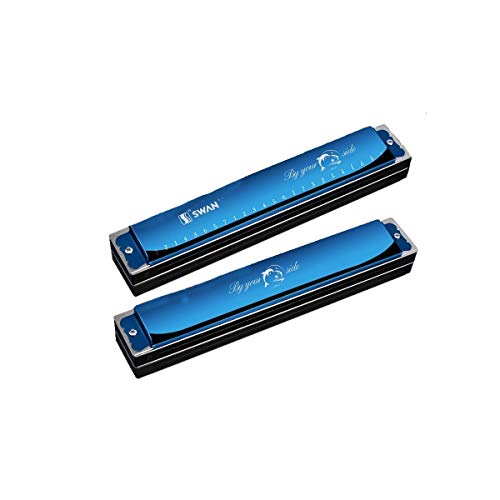 Qiaoxianpo01 Harmonica 24 Gat Beginner Studenten Volwassen Kinderen Professionele Polyfone C Mannen En Vrouwen Spelen Senior Tone Piano Het beste cadeau voor muziekliefhebbers E tone blue