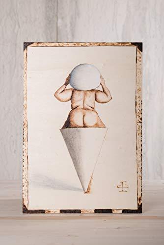 quadro,disegno su legno pirografato