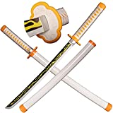 SV Wooden Anime Samurai Sword, Demon Slayer Sword-Agatsuma Zenitsu's Katana Wooden Sword 29 inches