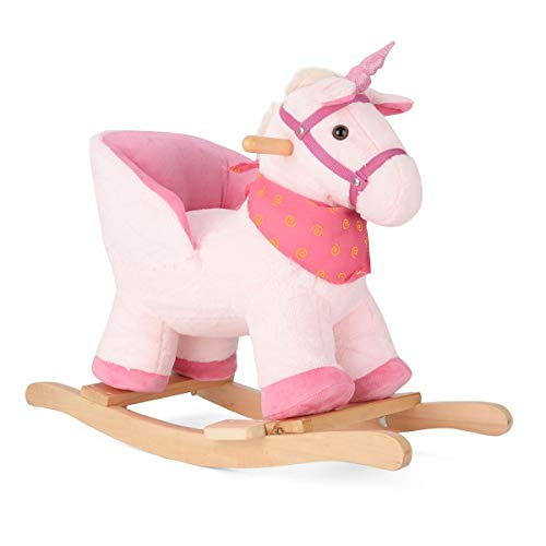 Plush Unicorn Rocker, Baby Rocking Horse, Rocking Animal, Toddler Ride On Toy, Soft Padded Seat with Backrest, 18 Months to 3 Years Old