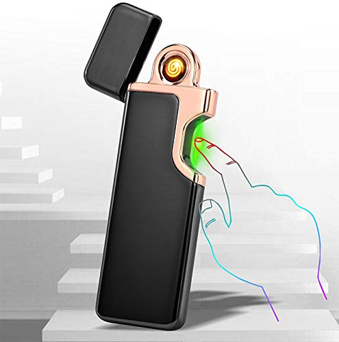 USB Elektronisches Feuerzeug Infrarot Photoelektrisch Finger Induktion Zigarettenanzünder Winddicht Zündung Flammenlos Ultradünnes Feuerzeug (schwarz)