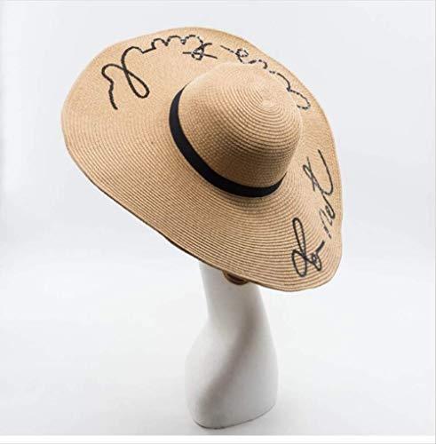 Sombrero Ancho de Paja,Sombreros de ala Ancha para Mujer Sombreros de Paja Bordados para niñas No Molestar para Mujer Sombreros Tipo de artículo: Sombreros de Sol Material: Paja