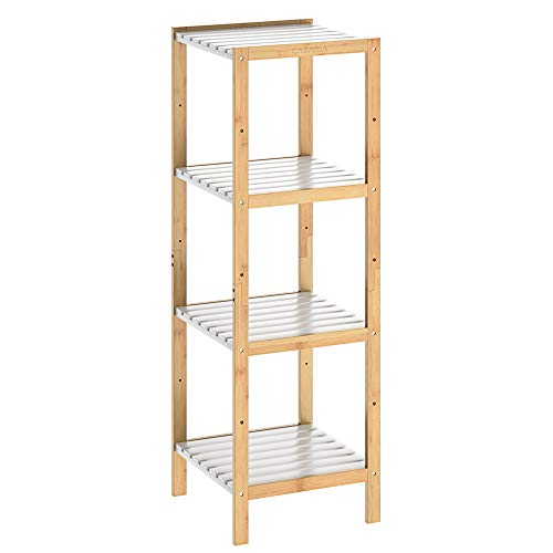 Casaria Badregal Bambus Standregal 4 Ablagen Badezimmer Holzregal Badezimmerregal Küchenregal Mehrzweckregal Holz Weiß