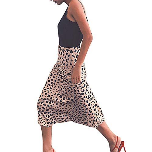 beautyjourney Falda de Mujer de Leopardo Delgada Falda de Cintura elástica de Cintura Alta Falda Cruzada Faldas largas de Fiesta de Noche Falda de Ocio