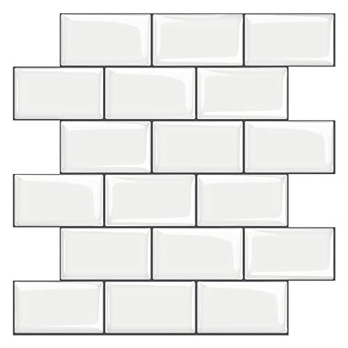 STICKGOO 10-Sheet White Subway Tiles Peel and Stick Backsplash, Stick on Tiles Kitchen Backsplash (Thicker Design)