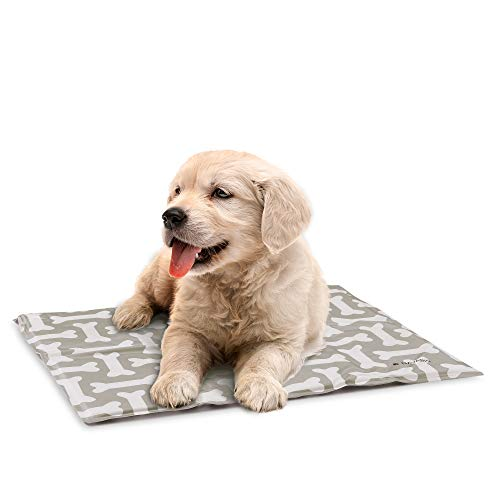 Navaris Alfombra de enfriamiento para Mascotas - Manta refrescante 40 x 50 CM para Perro Gato - Alfombrilla de refrigeración con patrón de Huesos