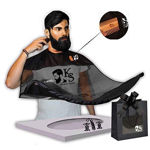 Kames Skoss - Bartschürze - Transparente Herren-Latzhose aus hochwertigem, transparentem Leder mit Sandelholz-Doppelkamm-Aufbewahrungstasche und Reisetasche