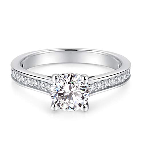 1ct Round Brilliant Cut Cubic Zirconia CZ Engagement Solitaire Rings Petite Pavé Channel Set Simulated Diamond Rhodium Plated 925 Sterling Silver Rings |Ideal Cut, D-E Color, FL Clarity