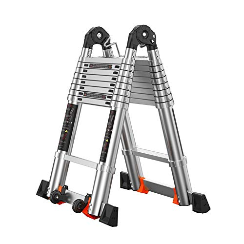 Escalera telescópica Plegable Las escaleras plegables portátiles de escalera plegable Loft Worktray Pasos de heces, Hogares de Propósitos Múltiples de tejado trabajo de decoración, de aluminio ligero