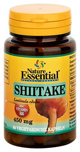 SHIITAKE 1100 + Vitamin B6, hochdosierte Kapseln mit Shiitake-Pulver und Vitamin B6, zur Unterstützung von Nerven- und Immunsystem (60 Kapseln)