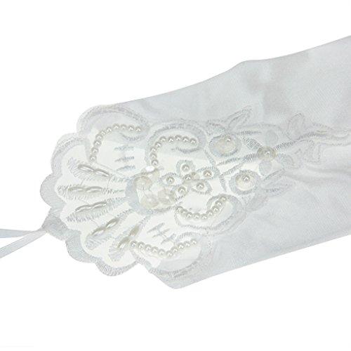 Liying Neu Damen Lange Hochzeithandschuhe Brauthandschuhe Fingerlose Spitze Handschuhe Hochzeit Abend Party Satin sexy Spitzenhandschuhe, Weiß, Einheitsgröße - 5