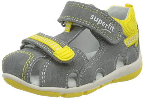Superfit Baby Jungen FREDDY Sandalen, (Grau/Gelb 25), 28 EU