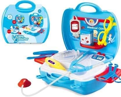 QEXLE Little Medical Doctor Accessories Clinic Set (Big Size, 19 pcs) Pretend Play Toy Kit with Stethoscope and Carry Along Suitcase for Girls Boys Birthday Gift Ages Above 3 Years. (* Kids Blue Doctor Set)