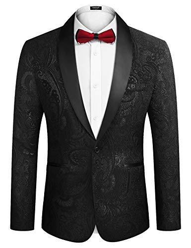 COOFANDY Men's Floral Suit Jacket Embroidered Dinner Jacket Wedding Blazer Party Tuxedo Jacket Black