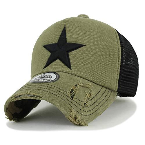 ililily Stern Stickerei schwarz Weiss Trucker Cap Hut Verstellbarer Baumwolle Baseball Cap (Medium, Olive)