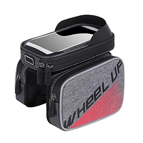DANLINI Bolsa de bicicleta impermeable pantalla táctil tubo superior MTB marco frontal cabeza bolsa titular caso rojo
