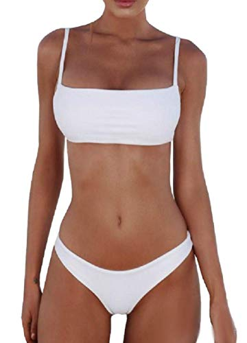 Inception Pro Infinite Costume da Mare - Bikini - Bagno - Donna - Ragazza - Due Pezzi - Slip - Reggiseno a Fascia - Bretelle Regolabili - Colore Bianco - Taglia L - Modello 2
