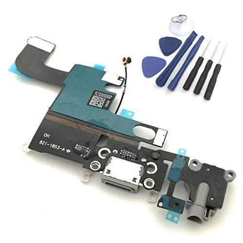 enoaFIX dock connector compatibel met iPhone 6 oplaadbus inclusief audio-jack (hoofdtelefoonaansluiting), antenne, microfoon en Lightning-connector voor Space Grey/zwart/grijs