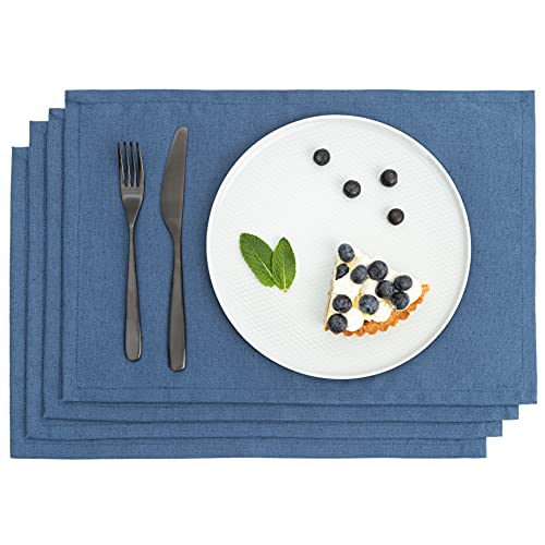 Manteles de Lino para Mesa Comedor - Manteles Individuales - Juego de Manteles de Comedor Lavables - 4 Manteles Individuales de Lino Natural