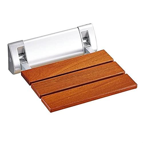 Asiento de ducha plegable montado en la pared, Baño de madera maciza...