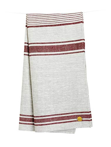 "Harmony Idea Natural Linen 100% Flax Bath Towel. Best Quick-Dry Lightweight Towel for Sports, Travel, Beach, Pool 28"" X 58"". (Grey Cherry-Strips)"