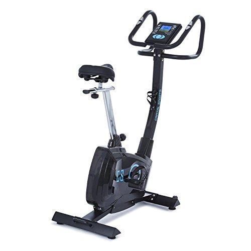 Capital Sports Durate - Ergometer, Cardio-Bike, Fitnessbike, Heimtrainer, Pulsmesser, Trainingscomputer, 4 kg Schwungmasse, 8-stufiger Widerstand, max. 100 kg, schwarz