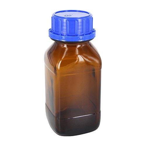 3 x 250ml Chemikalienflasche / Weithalsflasche quadratisch Braunglas mit Rasterkranz inklusive Schraubverschluss OV 45mm blau mit EPE-Einlage (Dichtung) *** Apothekenflasche, Chemikalienflaschen, Weithalsflaschen, Braunglasflasche, Apothekenflaschen, Apothekenglas, Braunglasflaschen ***