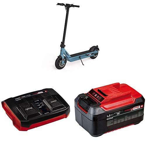ELMOTO Kick E-Scooter mit Straßenzulassung (blau, max. 20 km/h, bis zu 20 km Reichweite, ab 14 Jahre, 2x18 V, 500 W, faltbar, Einhell Power X-Change System, inkl. 2X 5,2 Ah Akku und Twincharger)