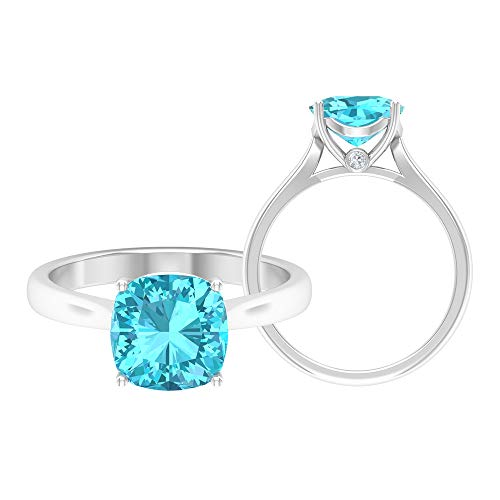 2.53 CT Swiss Blue Topaz Solitaire Ring, Simple Promise Ring, Gold Engagement Ring, White Gold, Swiss Blue Topaz, Size:UK I1/2