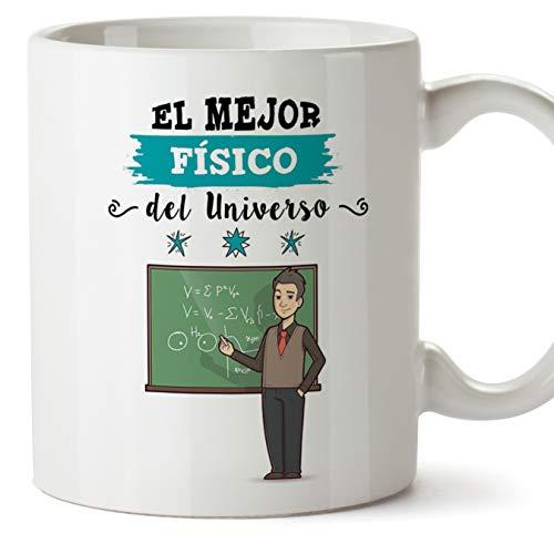 MUGFFINS Físico Tazas Originales de café y Desayuno para Regalar a Trabajadores Profesionales - Esta Taza Pertenece al Mejor Físico del Universo - Cerámica 350 ml