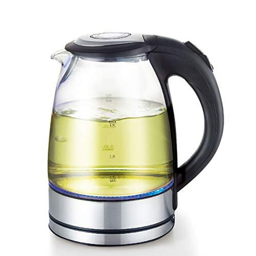 Wasserkocher, Borosilikatglas, geräuschloser, trockener Wasserkocher, 1.7L Blauer Wasserkocher