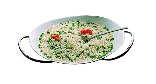 Mepra Set Risotti with China Risotti Bowl - Silver Finish, Dishwasher Safe Serveware